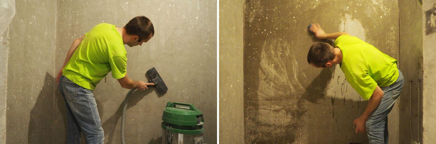 Обеспыливание стен пылесосом, щёткой