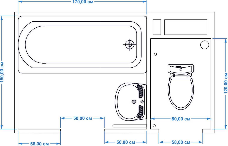 Размеры, план ванной и туалета 137 серии